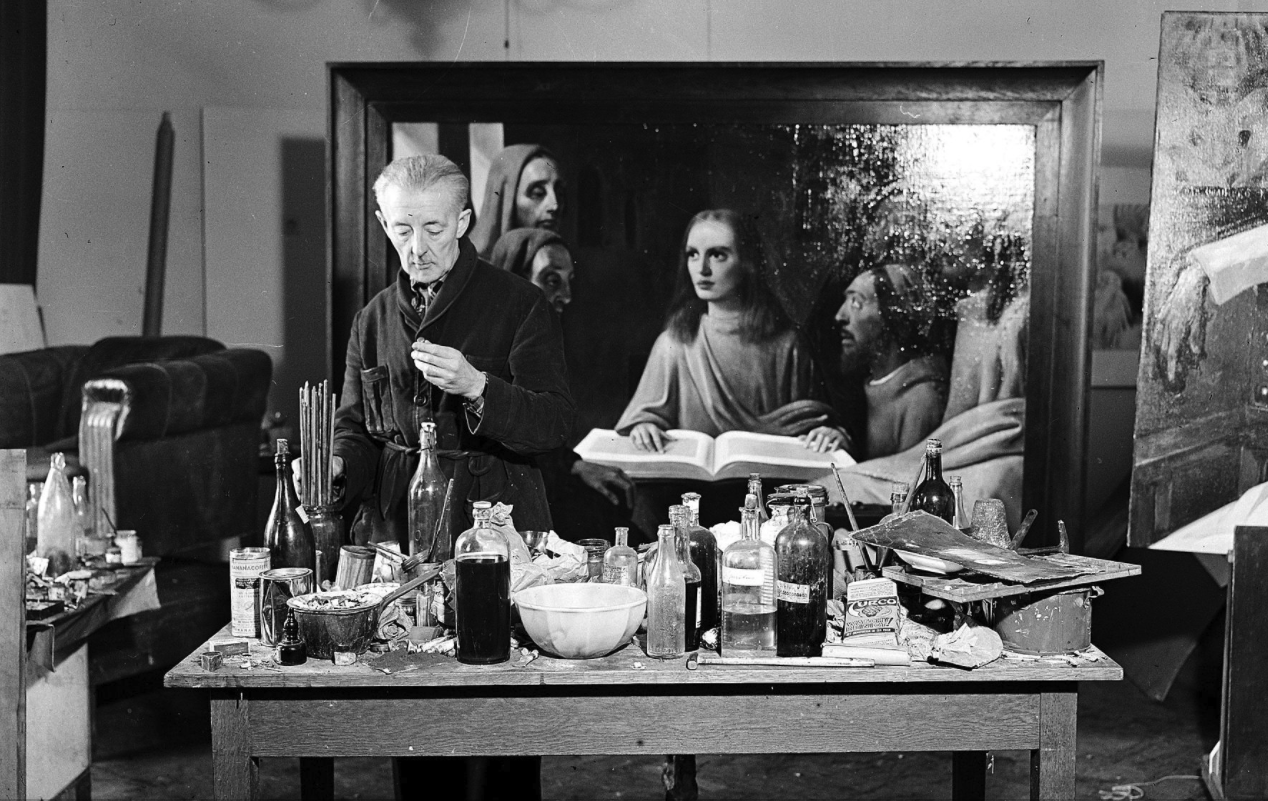 """In May 1945, the Allied forces questioned banker and art dealer Alois Miedl regarding the newly discovered Vermeer. Based on Miedl"