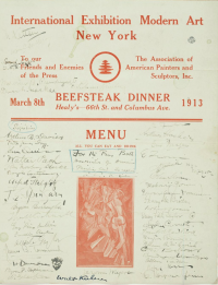 "Amusing dinner menu from the exhibition: ""To our Friends and Enemies of the Press"" signed by many notable people."