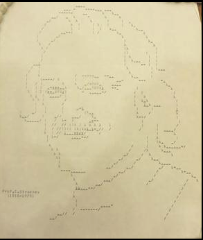 Early computer print-out showing a portrait of Christopher Strachey. Bodleian Library, Oxford.