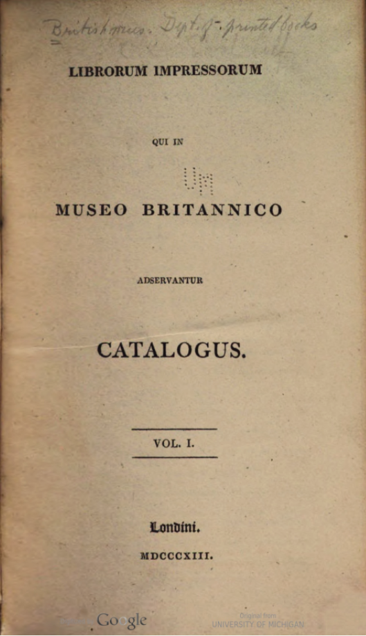 Title page of the first volume of the second edition (1813) of the catalogue of the library of the British Museum.