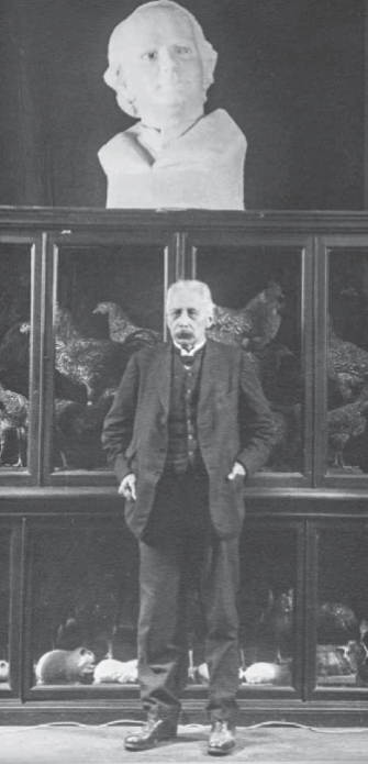 William Bateson standing under the statue of Mendel in the State Darwin Museum, Moscow, 1925. John Innes Archives reference number WB/A-34. Courtesy of the John Innes Foundation.