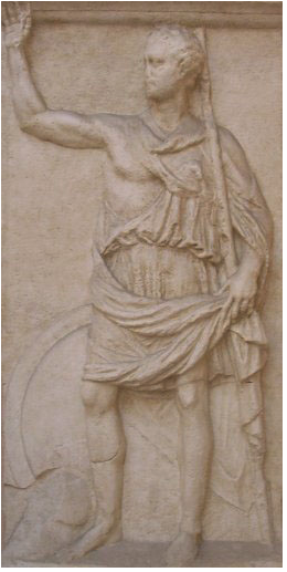The relief stele of Kleitor supposedely depicting the Achaean statesman and historian Polybius, 2nd century BC, Hellenistic Greek artwork from the Peloponnese. Dimensions are as follows: height of the stele, 2.18 m (7.2 ft); width of the stele, 1.11 m (3.6 ft); height of the carved figure of Polybios, 1.96 m (6.4 ft).