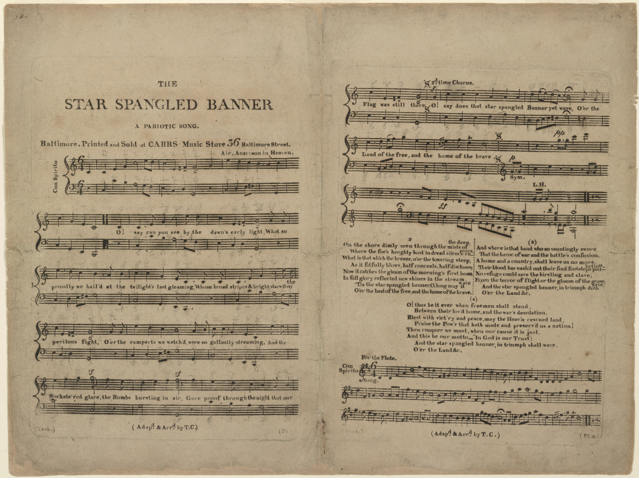 One of the 11 surviving copies of the first printed edition of The Star-Spangled Banner.