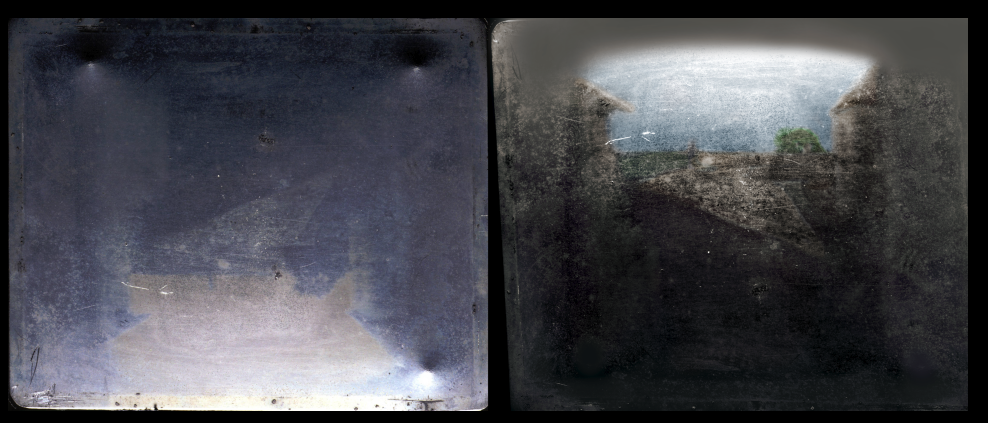 Original plate (left) & colorized reoriented enhancement (right). The photo was determined to have been taken at Niépce
