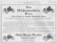 1903 Advertisement for the four models of the Curved Dash Oldsmobile, the first high-volume, low-priced American motor vehicle. The curved dashboard is prominent at the front of each of the models.
