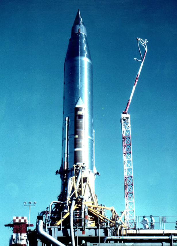 An Atlas-B missile (s/n 10B) being prepared to launch the SCORE satellite from Cape Canaveral LC-11.