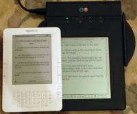 """Comparison of the EO 440 Personal Communicator (1993) and the Amazon Kindle 2 e-book reader (2009). Both have reflective displays (no backlight). The EO has liquid crystal display, the Kindle an electrophoretic one."" (Wikipedia)"