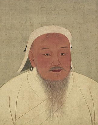 """Genghis Khan as portrayed in a 14th-century Yuan era album; now located in the National Palace Museum, Taipei, Taiwan. The original version was in black and white."" (Wikipedia)"