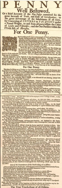 Newspaper advertisement for the first Penny Post service, explaining the service in detail.