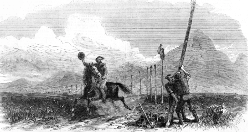 Construction of the first Transcontinental Telegraph, with a Pony Express rider passing below. Wood engraving after George M. Ottinger (d. 1919). The transcontinental telegraph did not make the Pony Express redundant because of the high costs of sending a telegram over a long distance, but the transcontinental railroad, completed in 1861, made it far cheaper and faster to send mail over the distance in which the Pony Express briefly operated.