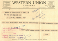 A Western Union telegram from May 27, 1959, roughly 100 years after the company completed the transcontinental telegraph. The telegraphed message was printed on tape that was pasted to the form, which was typically delivered to the recipient. The form indicates that the company had tried to telephone the recipient with the message on three occasions. That telegrams continued to be sent long after telephone service was widely available is still another example of the gradual transitions between old and new media.