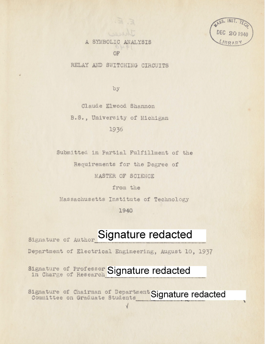 Title page of the file copy of Shannon's thesis which was digitized and is available from MIT. Note the redactions.