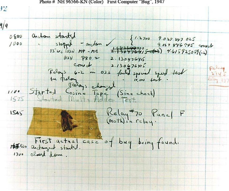 "Log book recording the original moth and the note, ""First actual case of bug being found."