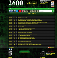 Screenshot (partial) of the extremely distinctive look of the 2600 website in September 2020.