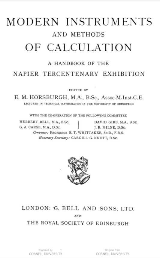 Modern Instruments and Methods of Calculation (title page)