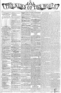"First issue of ""The News of the World"""