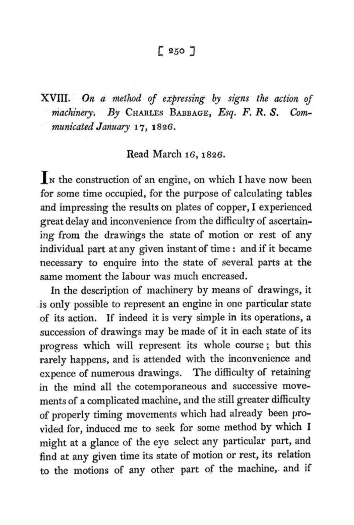 The first page of Babbage's paper