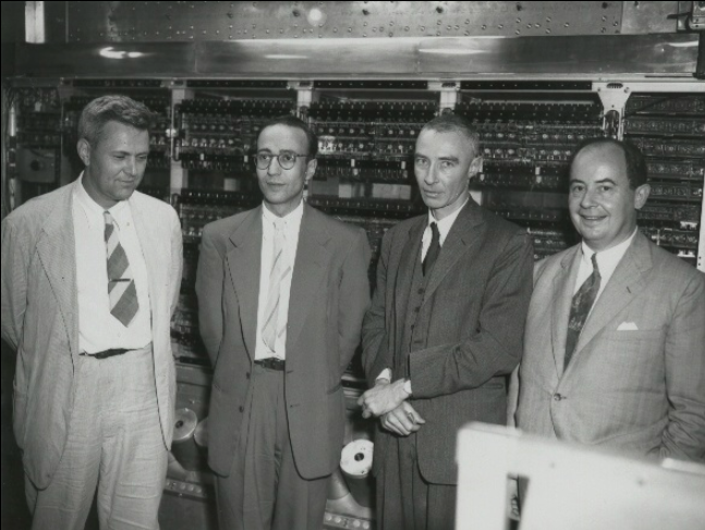Julian Bigelow (far left) at The Princeton Institute for Advanced Study with (left to right:) Herman Goldstine, J. Robert Oppenheimer, and John von Neumann.