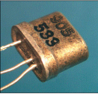 Texas Instruments 905 transistor, one of the first types sold commercially.