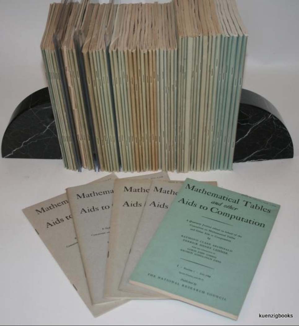 "A nearly complete run of ""Mathematical Tables and Other Aids to Computation"" in the original printed wrappers as issued."