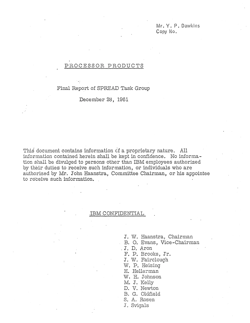 Title page of Processor Products: Final Report of SPREAD Task Group