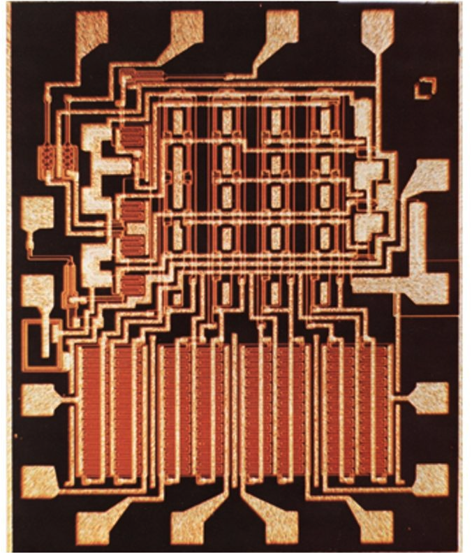 Fairchild 3708, the first commercial silicon-gate IC designed by Federico Faggin in 1968