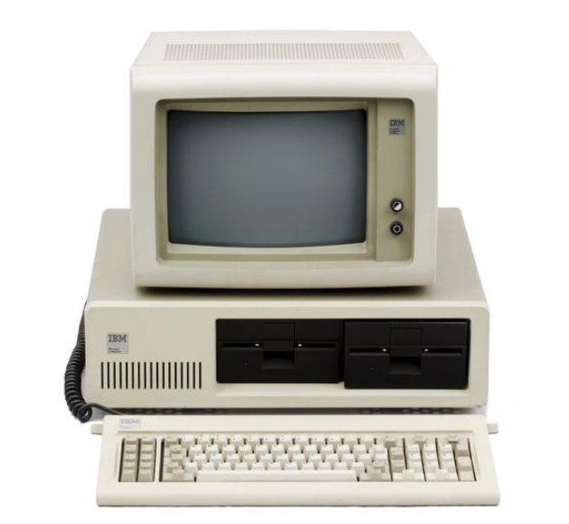 IBM PC with monitor and keyboard