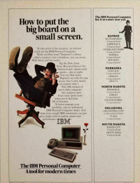 A 1982 print ad for the IBM PC featuring the Charlie Chaplin imitator,