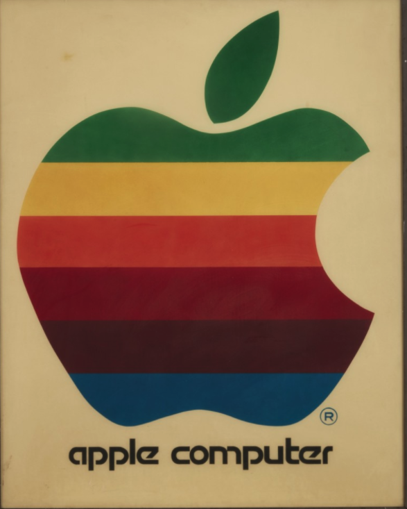 Original Apple Computer Inc Rainbow Apple logo sign, circa 1978