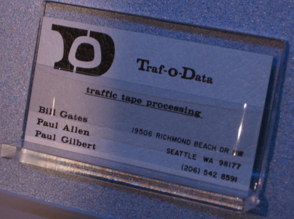 Traf-o-Data business card with the names of Bill Gates and Paull Allen from the New Mexico Museum of Natural History and Science.