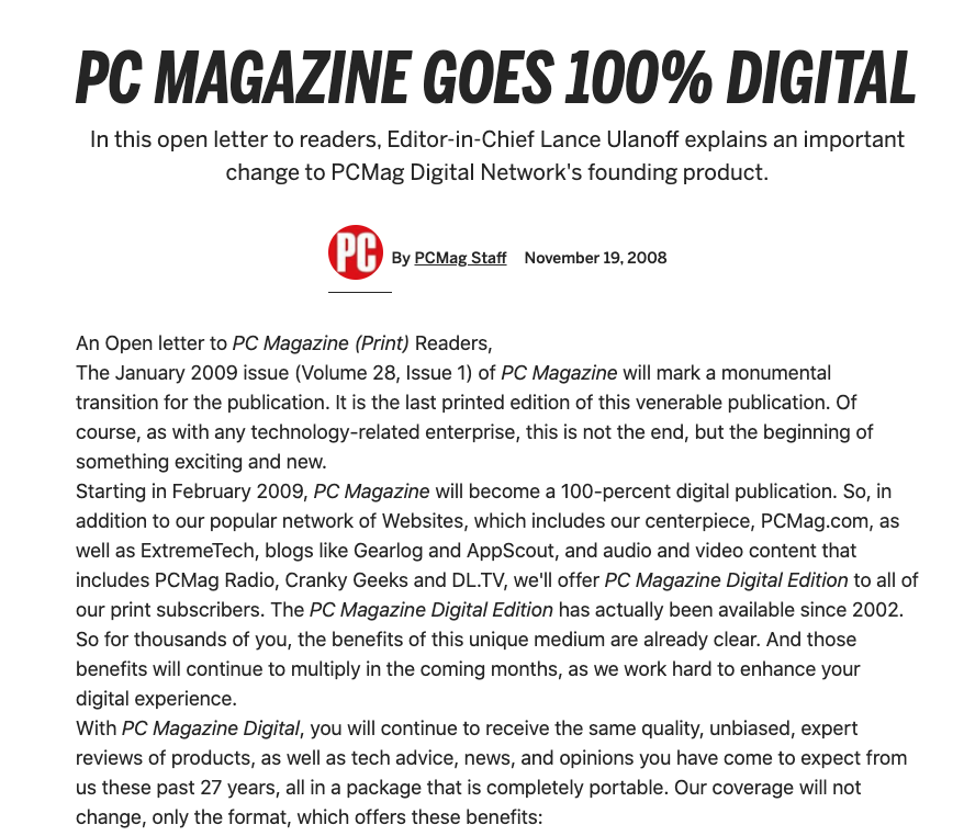 "Screenshot from PC Magazine ""PC Magazine Goes 100% Digital"""