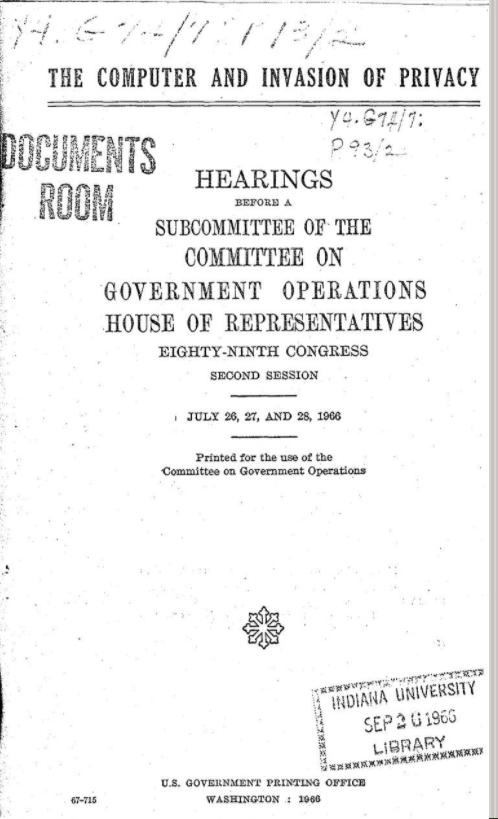 Title page of The Computer and Invasion of Privacy hearings in Congress
