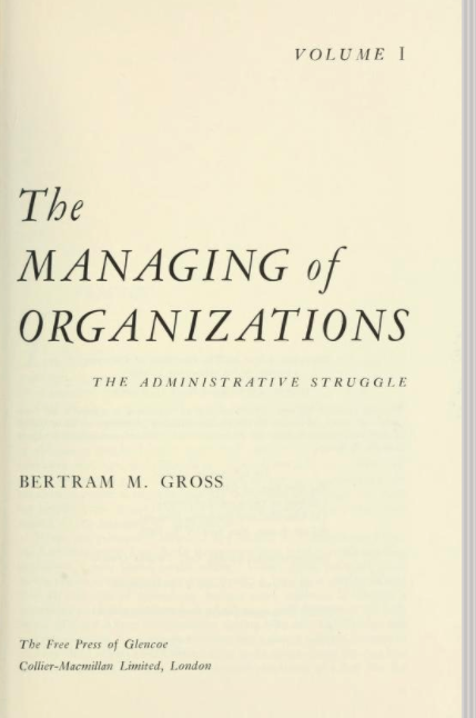 Title page of Gross's The Managing of Organizations, Vol. 1.