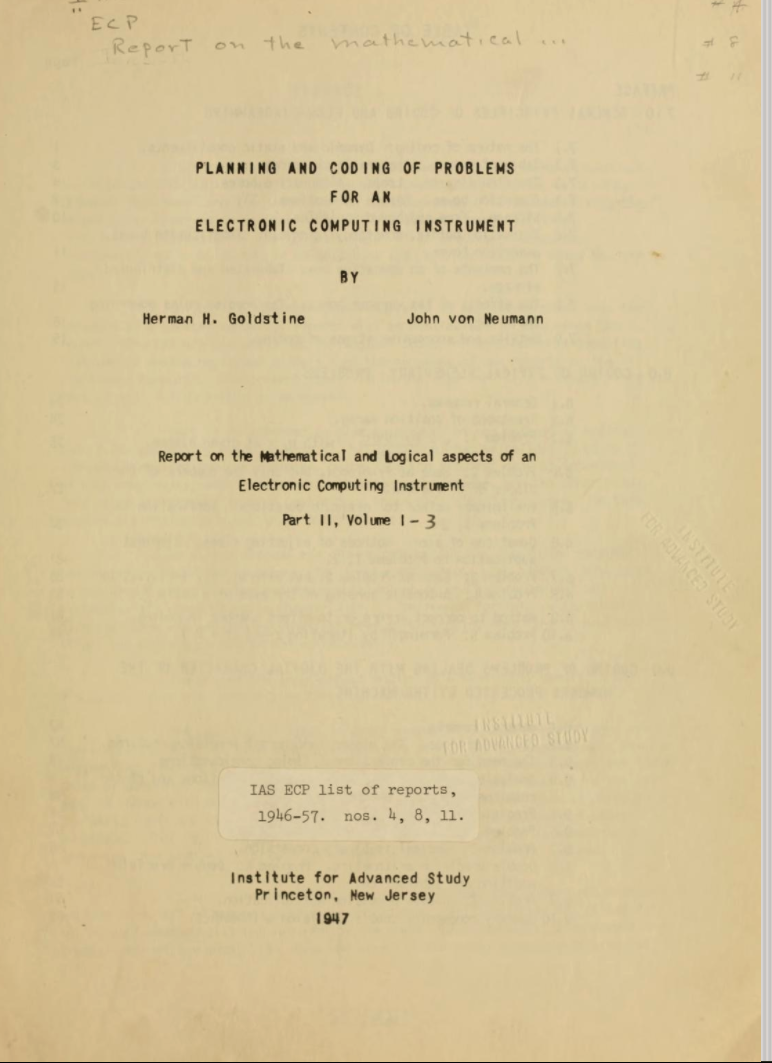 Title page of Goldstine and von Neumann's Planning and Coding....