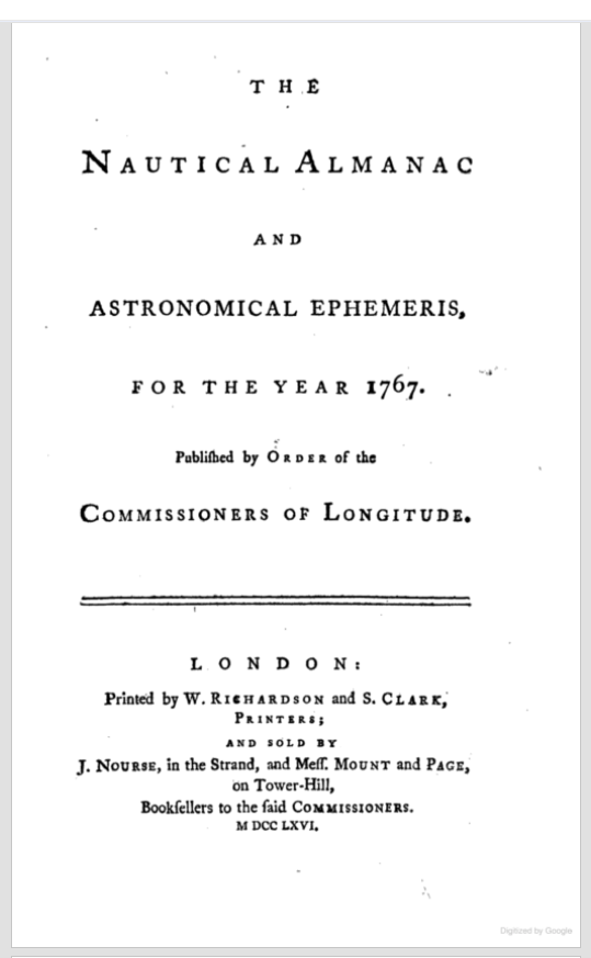 Title page of the first edition of the Nautical Almanac