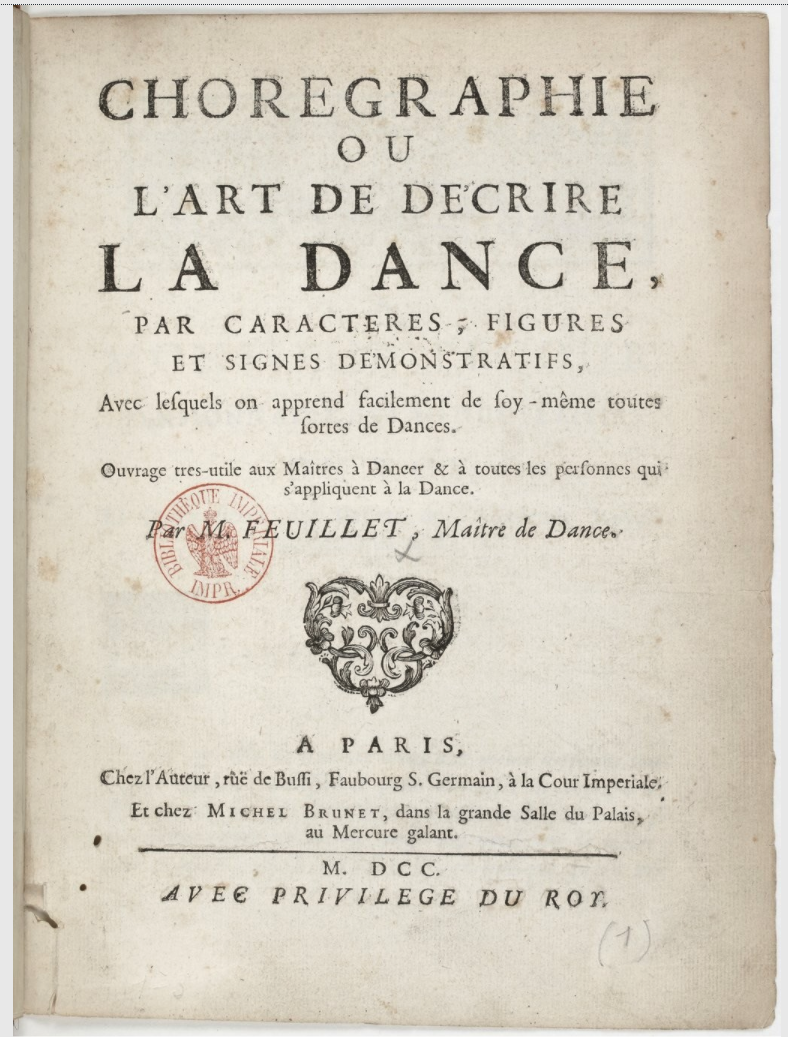 Title pager of Feuillet's Choregraphie (1700)