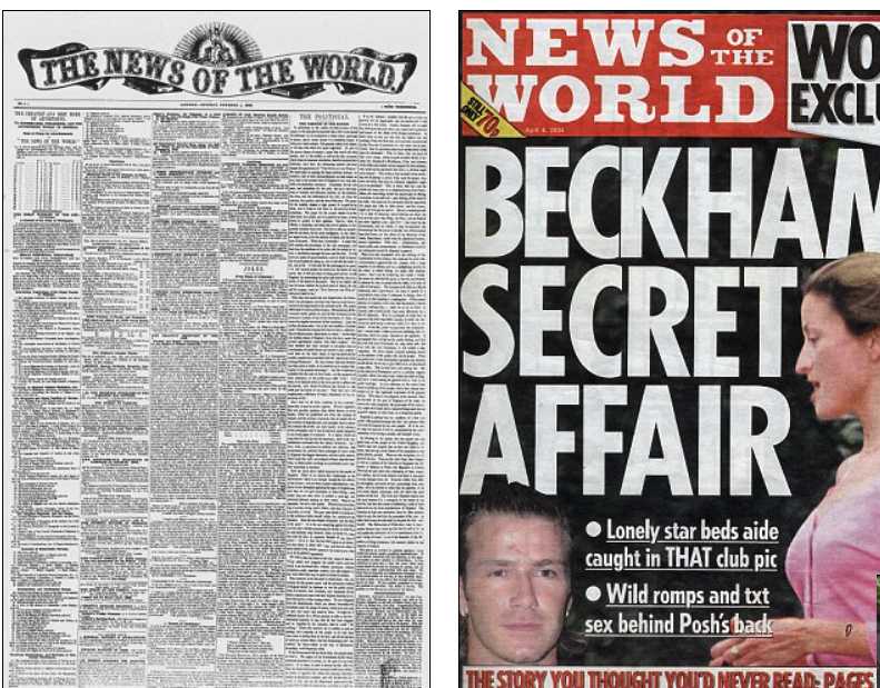 First issue of The News of the World compared with a 2020 issue published before the paper shut down.