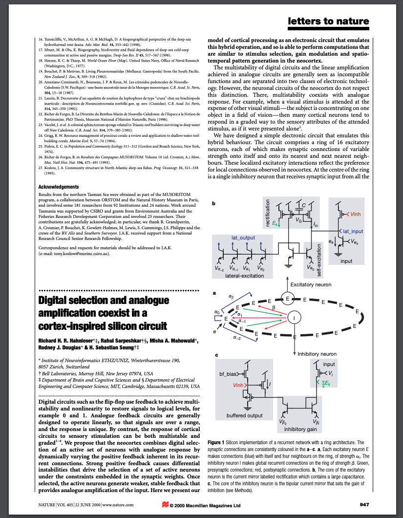 First page of paper published in Nature