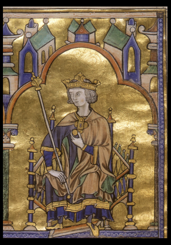 Portrait of Louis IX. from Bible Moralisée, created in Paris, from 1227-1234. Morgan Library & Museum. MS M.240