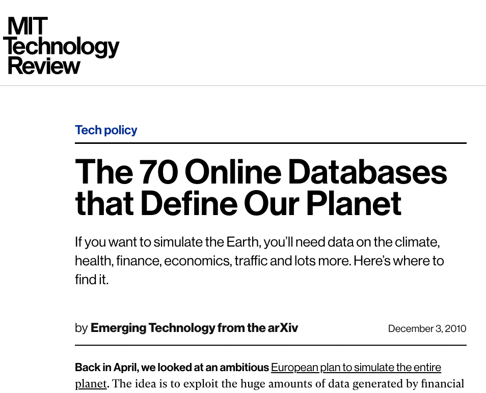 70 Online Databases that Define Our Planet