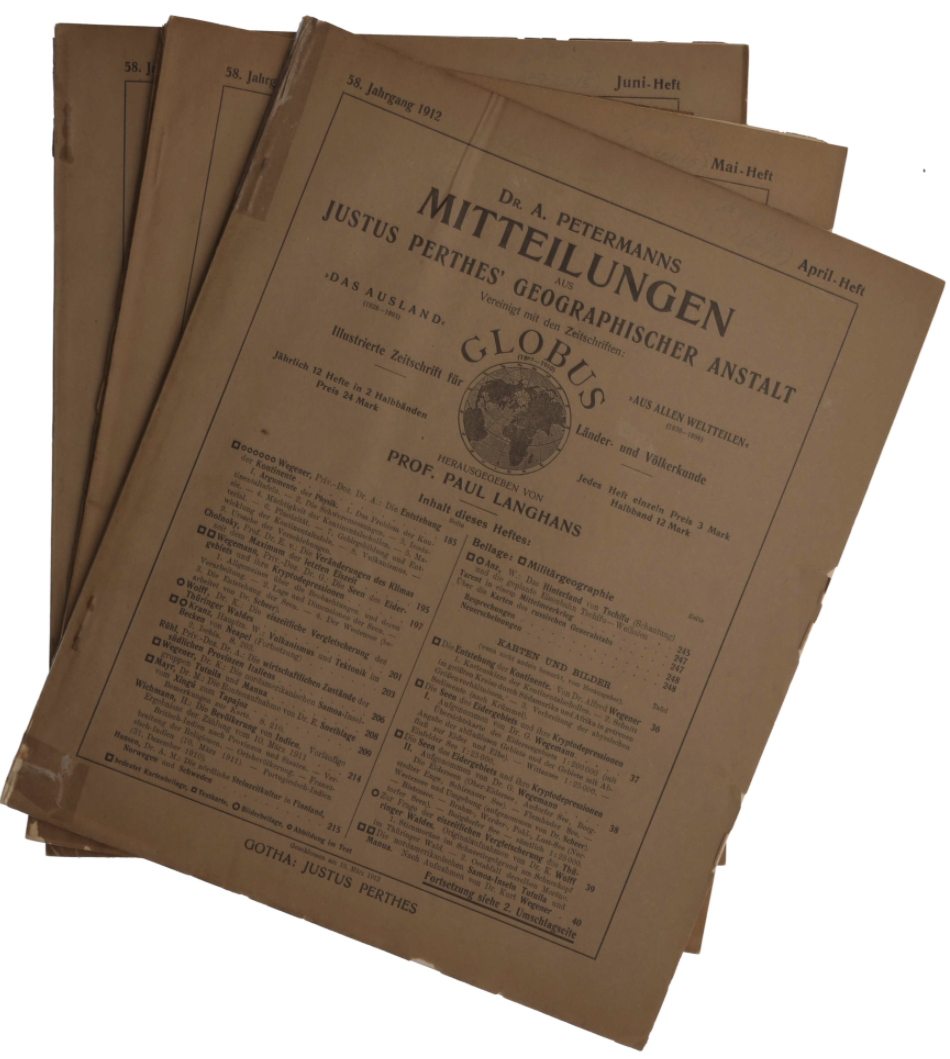 The separate issues of Petermanns Mitteilungen containing the first edition of Wegener's first paper on continental drift.