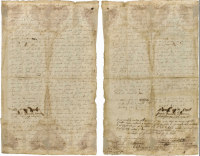 Both sides of the Germantown Quaker Petition Against Slavery