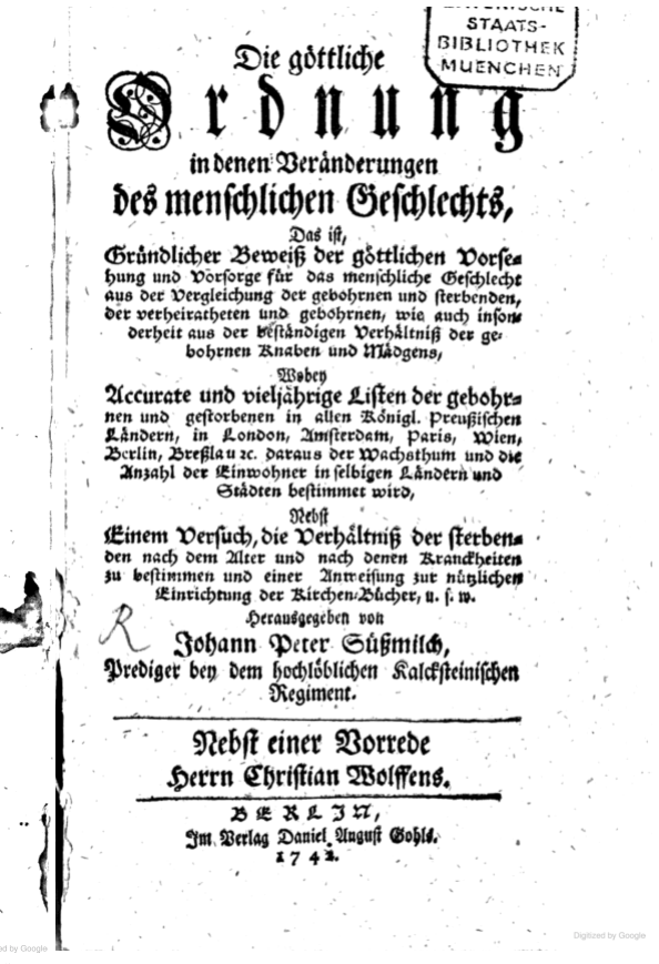 Title page of Sussmilch's book