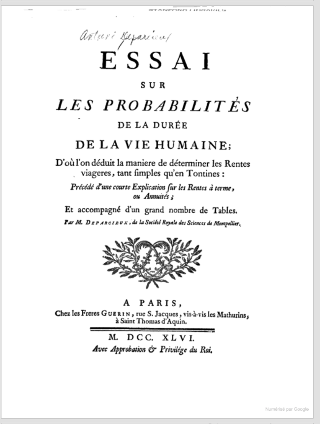 Title page of Deparcieux's book on probabilities