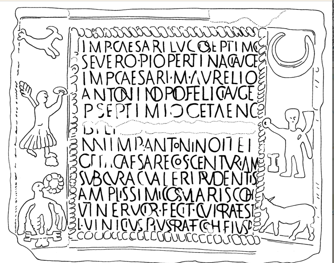 Imperial dedication to Septimius Severus, Caracalla, and Geta (a.d. 205)