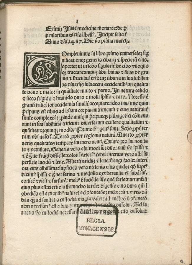 First leaf of text, after the subject index, of Isaac Judaeus' De particularibus diaetis.