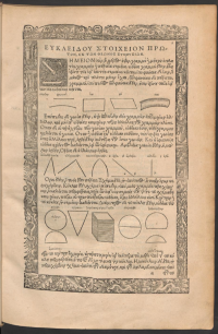 Page of the Edition princeps of Euclid with diagrams in the text