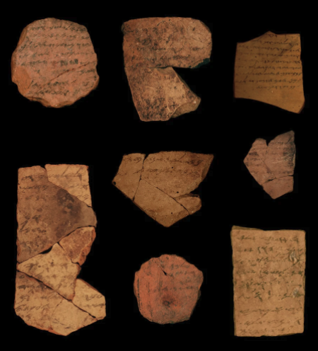 Letters inscribed on pottery shards, formally called ostracons, unearthed in an excavation of a fort in Arad, Israel. These date to about 600 BCE.