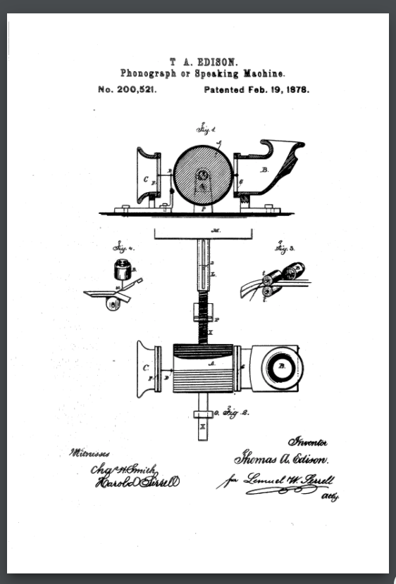 The illustration showing the recording and playback method in Edison's patent.