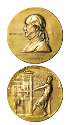 Both sides of the Pulitzer Prize Gold Medal